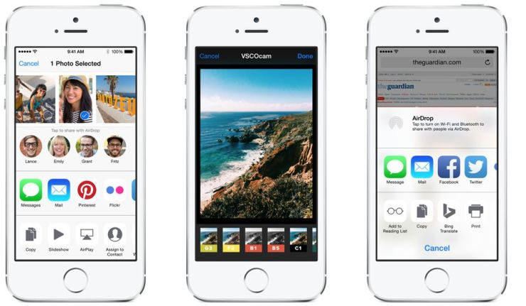 iOS 8 Custom Share Sheet, Actions