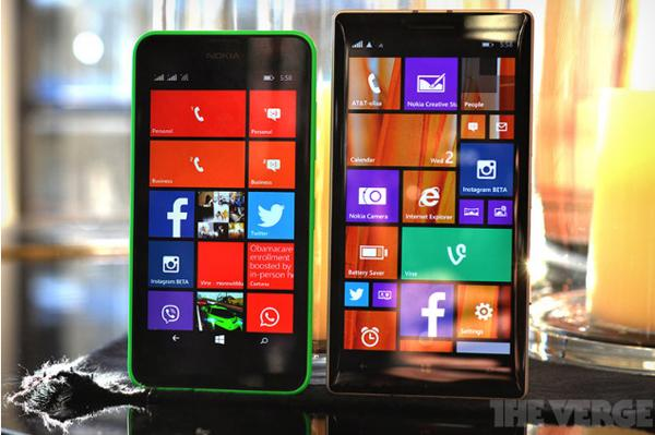 Nokia Lumia 630/635 and Lumia 930. Image: The Verge