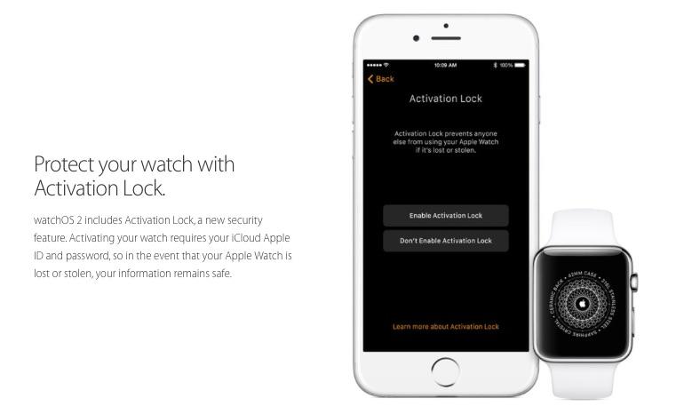 Activation Lock Apple Watch OS 2