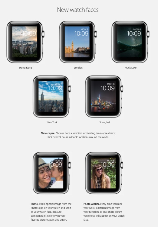 Apple Watch OS 2 Faces