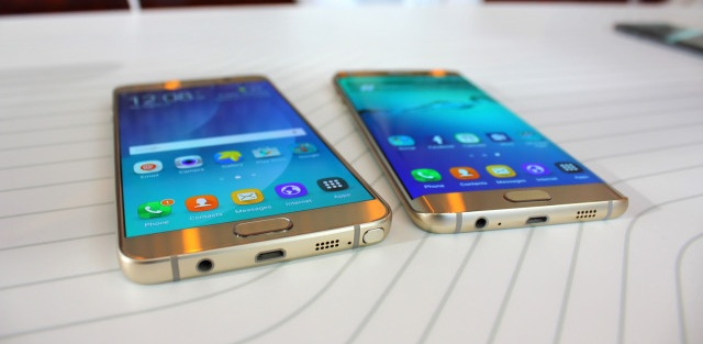 Samsung Galaxy Note 5 (left) and Galaxy S6 Edge+ (right)