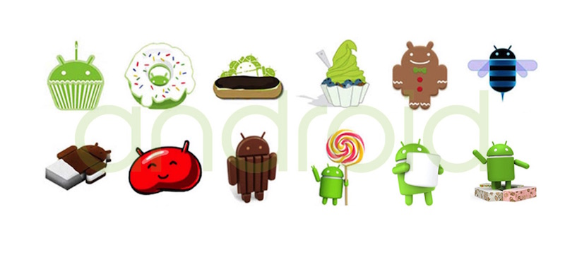 android versions from 1 to 7
